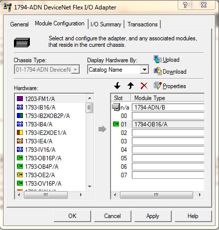 1794-ADN RSNetWorxs Module Configuration Tab