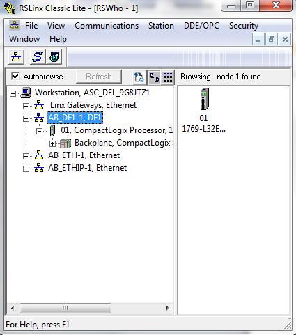 Communications set-up PLC via RSLinx