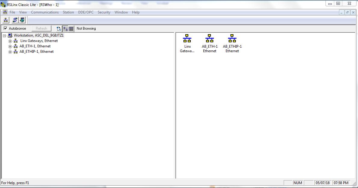 RSLinx Communication Tab - Configure Drivers