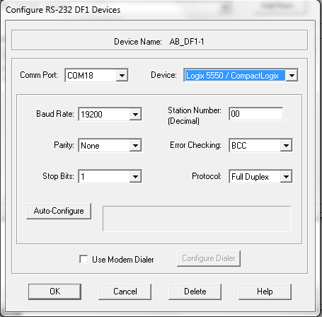 Change COM Port - Select Device Type