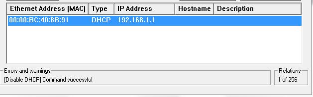 Ethernet Address - Command Successful