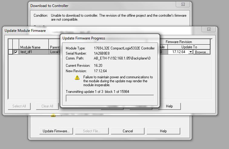 Firmware Update Process Screen