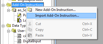 Import Add On Instruction.