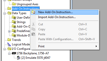 Creating New Add-On Instruction