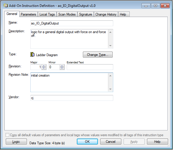 Add-On Instruction Definition Window